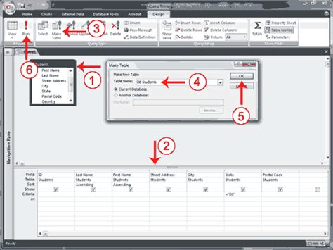 access 2007 tutorial query design use a query to make a table