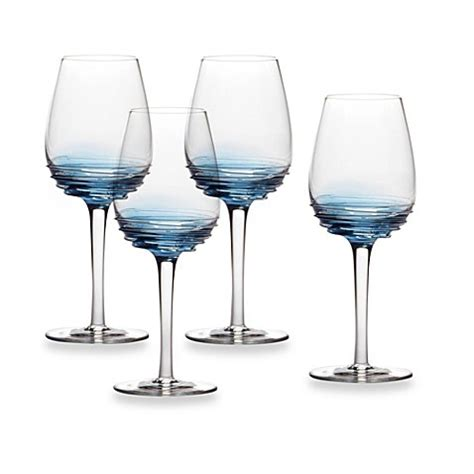 bed bath and beyond wine glasses mikasa 174 swirl white wine glasses in cobalt set of 4