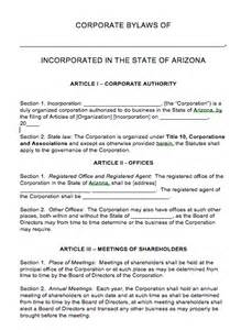 Bylaws Template For Corporation by Free Arizona Corporate Bylaws Template Pdf Word