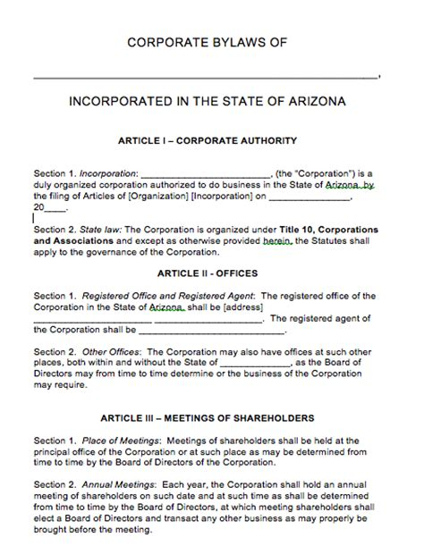 free arizona corporate bylaws template pdf word
