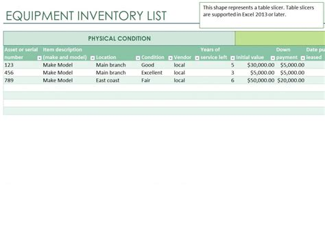 excel equipment inventory list template equipment inventory list equipment inventory list template