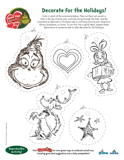 Printable Grinch Ornaments | search results for printable grinch activities free