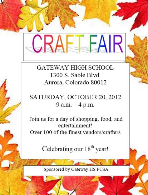 Craft Fair Flyer Template 12 Best Photos Of Craft Sale Flyer Template Craft And Bake Sale Flyer Fall Craft Fair Flyer