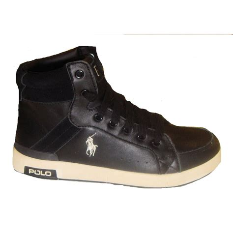ralph boys black talbert leather high tops trainers