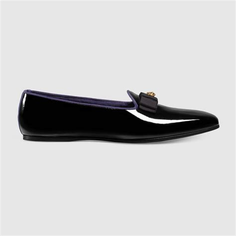 black patent loafers gucci patent leather loafer in black for lyst