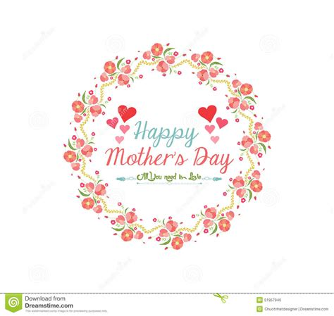 Happy Mothers Day Isabelles Maman by Happy Day With Wreath Flower Stock Vector