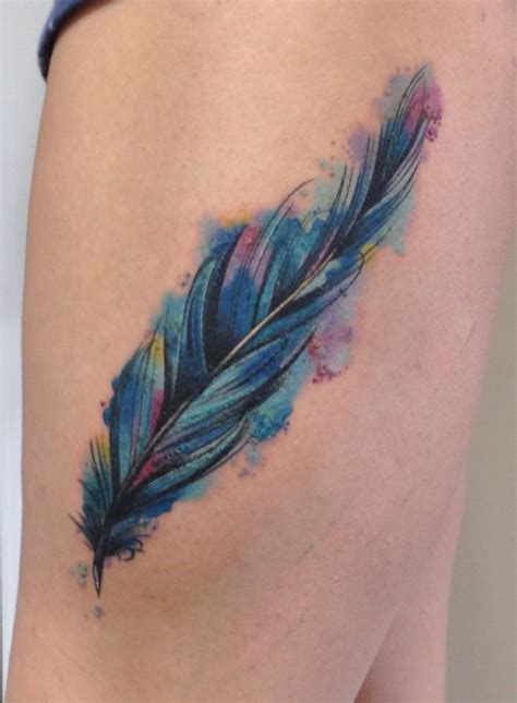 colorful feather tattoo best 25 watercolour feather ideas on
