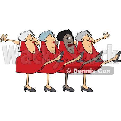 clipart   cartoon chorus   senior ladies dancing