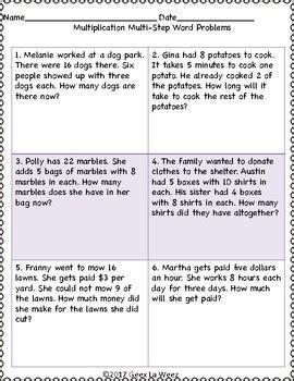 multi step multiplication word problems worksheets by geez