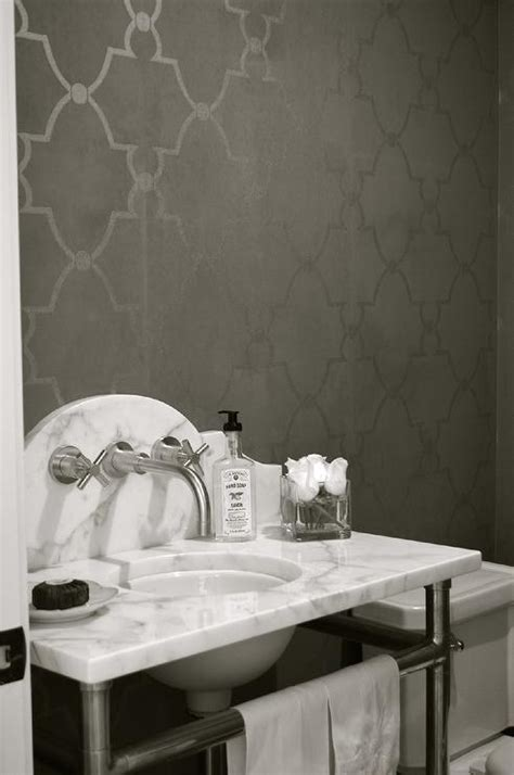gray moroccan trellis wallpaper  marble washstand