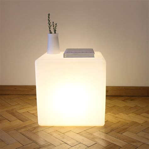 cube lit side table cube lit table by one taller notonthehighstreet com
