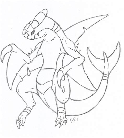 garchomp linework by kingdragonart on deviantart