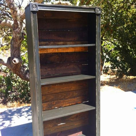 bookshelf stained pallet wood backing and