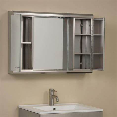 Mirror Bathroom Cabinet With Lights Illumine Dual Stainless Steel Medicine Cabinet With Lighted Mirror Medicine Cabinets Bathroom