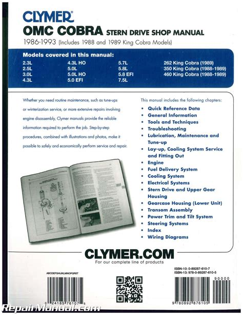service manual small engine maintenance and repair 1993 clymer omc cobra 1986 1993 stern drive boat engine repair manual b738 ebay