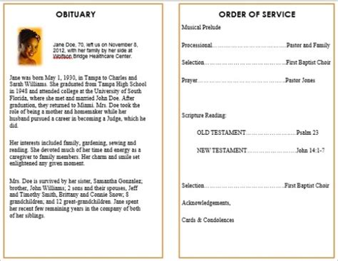 memorial bulletin template pin by maureen hoover on funerals