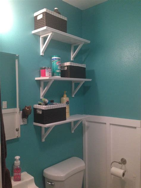 home depot teal zeal paint added board and baton and shelves small bathroom upgrade
