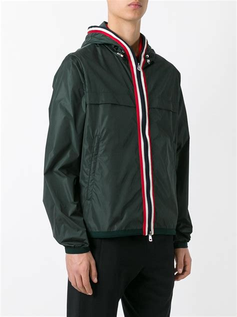 Hooded Striped Trim Jacket moncler striped trim hooded jacket in green for lyst