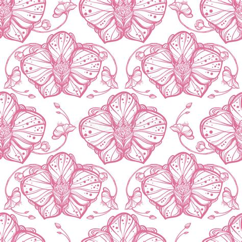 fashion elegant background with hand drawn flowers royalty orchid flowers seamless pattern stock vector image
