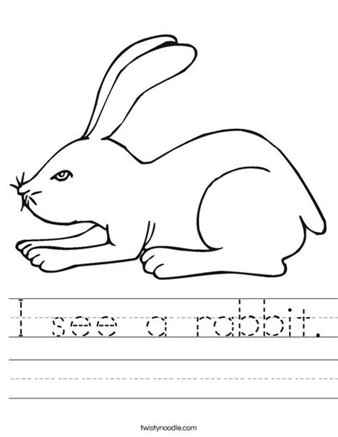 i see a rabbit worksheet twisty noodle