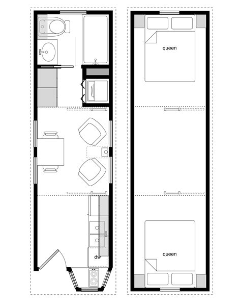 sample floor plans for the 8x28 coastal cottage tiny house