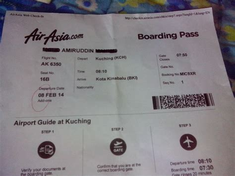 airasia hot boarding pass avis du vol air asia kuching kota kinabalu en economique
