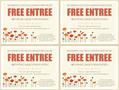 free printable restaurant coupons templates bistro coupon template marketing archive