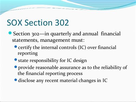 Section 302 Of The Sarbanes Oxley Act by Ch 15