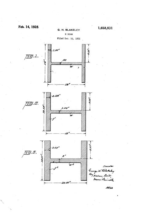 Drawing H Beam by Patent Us1658831 H Beam Patents