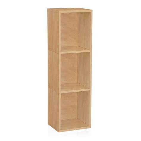 Narrow Wooden Bookcase Way Basics Zboard Trois 3 Shelf Narrow Eco Bookcase Storage Shelf In Wood Grain Bs 285
