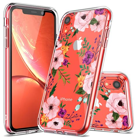 iphone xr case luhouri clear iphone xr case girls women pink floral heavy duty protective hard
