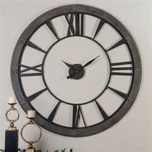 large wall clock ronan rustic bronze large wall clock uttermost wall