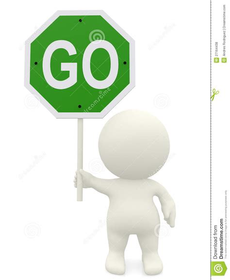 to go free or not to go free should you choose 3d man holding a go sign stock illustration image of