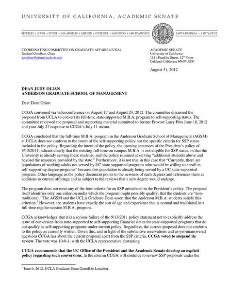 School Waitlist Letter Of Recommendation Letter Rejecting Self Sufficiency By Ucla School Of Management By Daniel J B