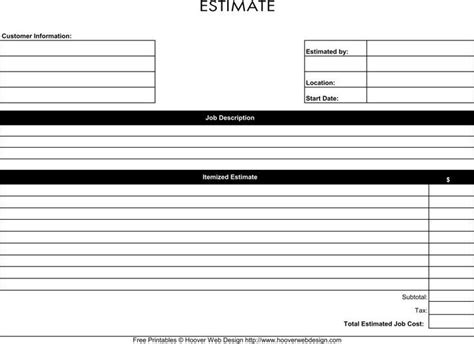 blank estimate form template blank estimate template free premium templates forms sles for jpeg png pdf