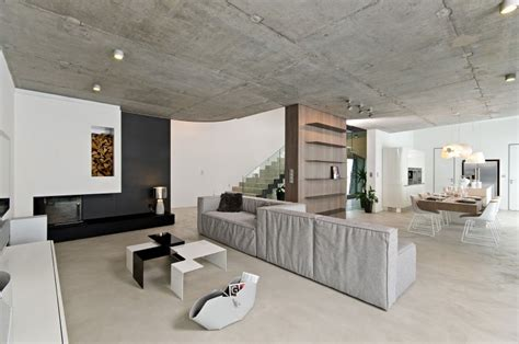 sophisticated concrete interiors in the czech republic by