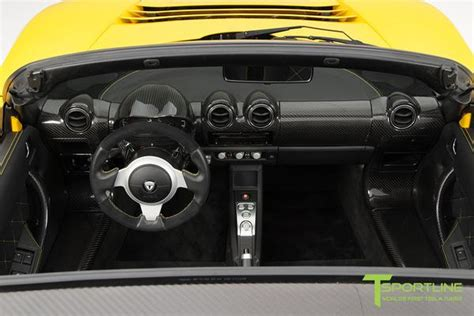 ferrari yellow interior brilliant yellow tesla roadster custom ferrari black