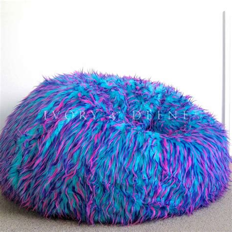 big fluffy bean bag large shaggy fur beanbag cover blue pink cloud chair soft