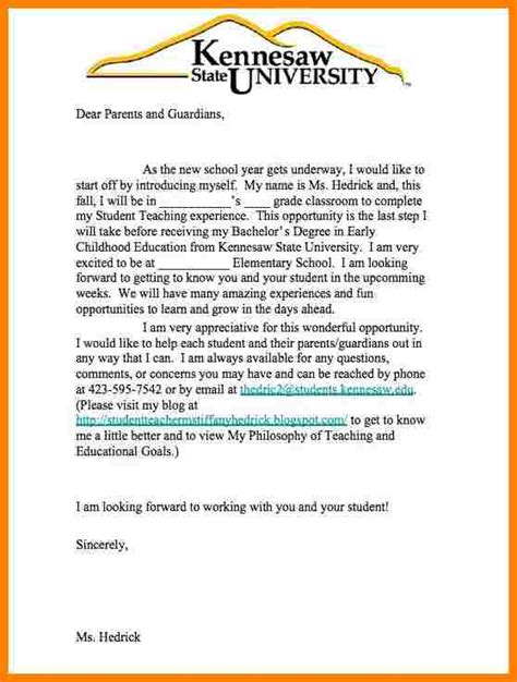 parent letter template for teachers 6 introduction letter to parents sle