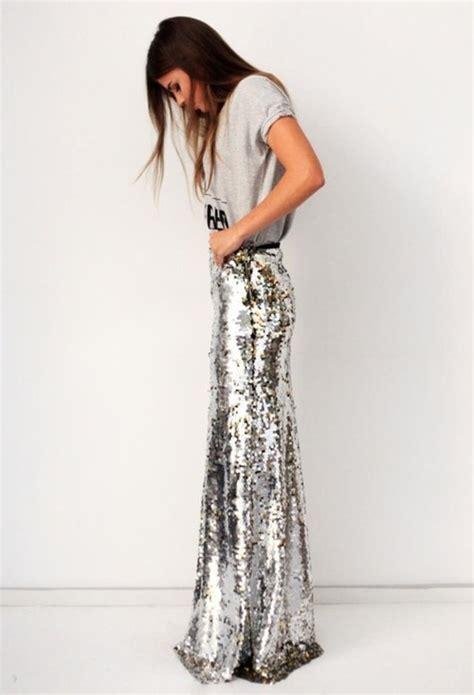 skirt maxi skirt metallic metallic silver sequins