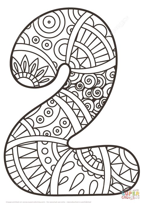 number 2 coloring page number 2 zentangle coloring page free printable coloring