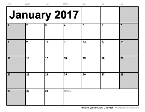 printable calendar january 2017 january 2017 calendar printable with holidays weekly