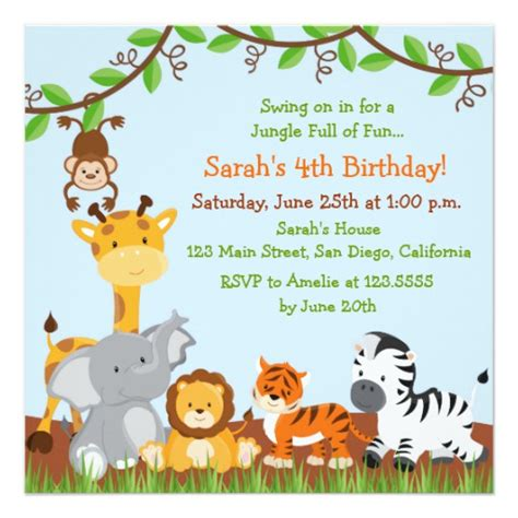 jungle invitation template safari jungle birthday invitations zazzle