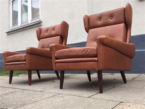 mid century leather wingback chair for sale at pamono danish mid century leather wingback chairs by svend