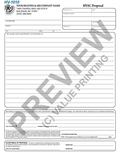 Hvac Forms Hvac Bid Template