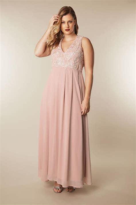 Id 740 Split Mesh Dress ax curve blush pink maxi dress with lace overlay