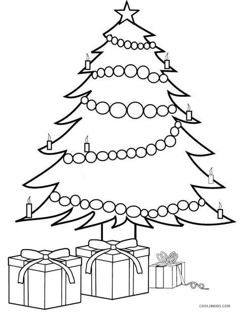 Christmas Tree And Presents Coloring Page | printable christmas tree coloring pages for kids cool2bkids