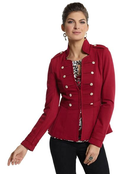 white house black market coats cardinal red military ponte jacket