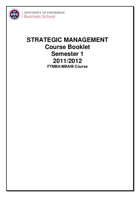 Mba Strategy Course by Mba Strategy Uebs