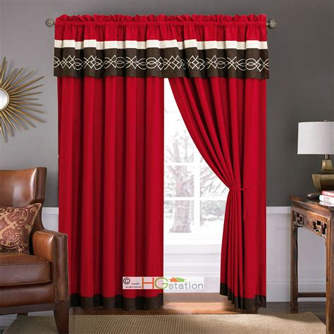 brown and ivory curtains 4 pc scroll embroidery curtain set chili pepper red brown